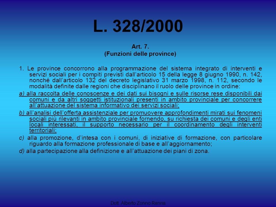 L. 328/2000 Dott. Alberto Zonno Renna Art. 7. (Funzioni delle province) 1. Le province concorrono alla programmazione del sistema integrato di interve