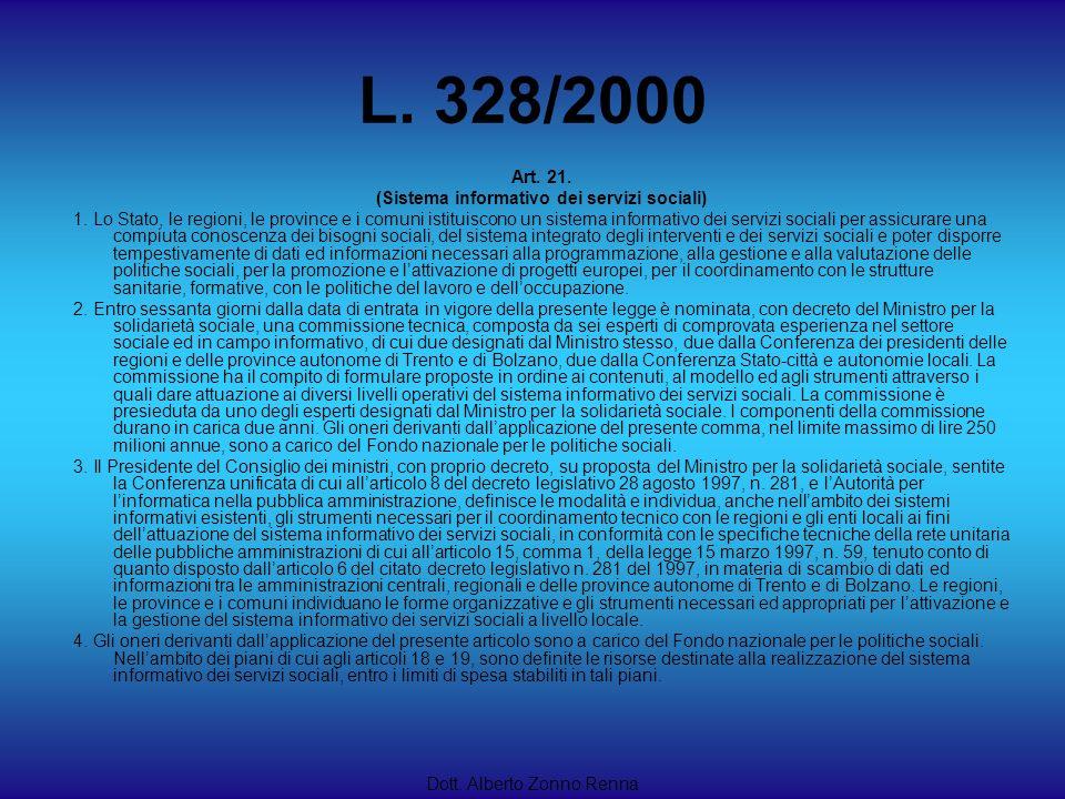 L. 328/2000 Dott. Alberto Zonno Renna Art. 21. (Sistema informativo dei servizi sociali) 1. Lo Stato, le regioni, le province e i comuni istituiscono