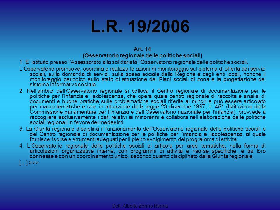 L.R. 19/2006 Dott. Alberto Zonno Renna Art. 14 (Osservatorio regionale delle politiche sociali) 1. E istituito presso lAssessorato alla solidarietà lO
