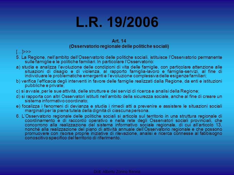 L.R. 19/2006 Dott. Alberto Zonno Renna Art. 14 (Osservatorio regionale delle politiche sociali) […]>>> 5. La Regione, nellambito dellOsservatorio dell