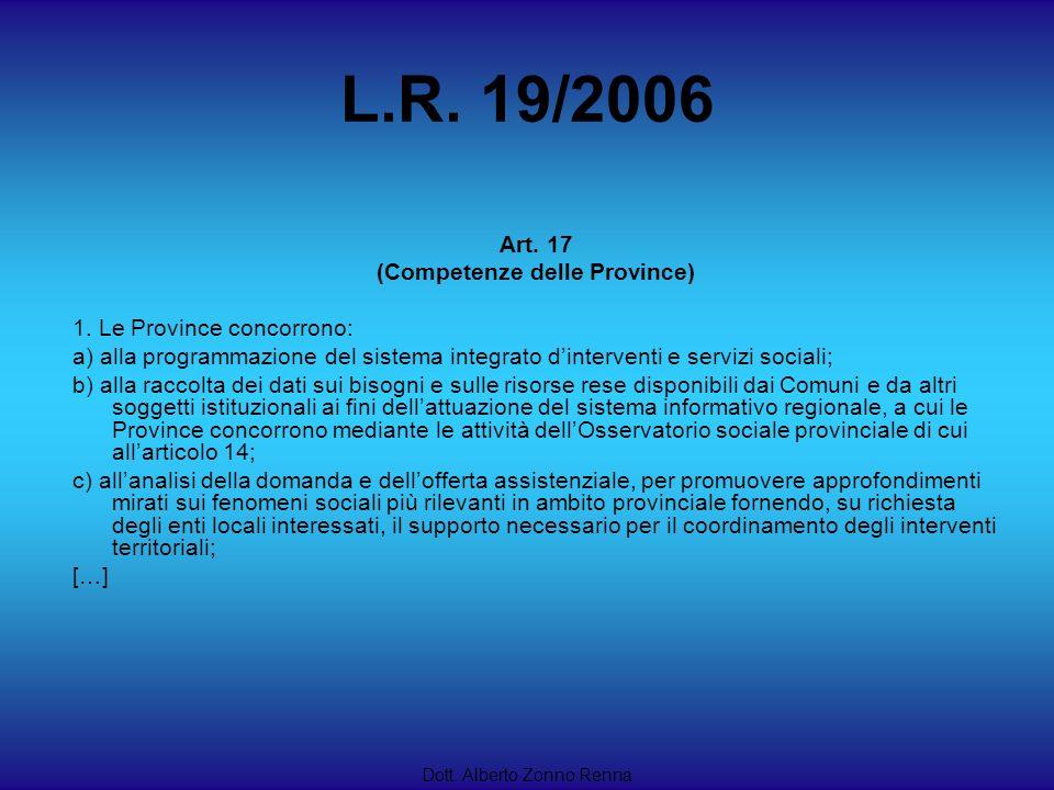 L.R. 19/2006 Dott. Alberto Zonno Renna Art. 17 (Competenze delle Province) 1. Le Province concorrono: a) alla programmazione del sistema integrato din
