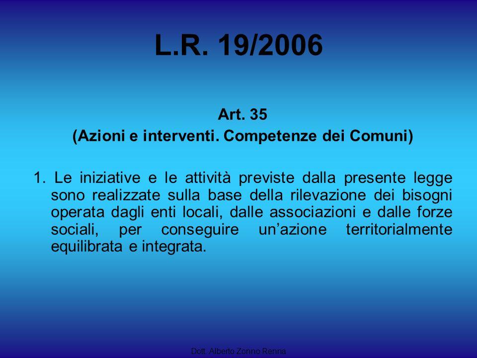 L.R. 19/2006 Dott. Alberto Zonno Renna Art. 35 (Azioni e interventi. Competenze dei Comuni) 1. Le iniziative e le attività previste dalla presente leg