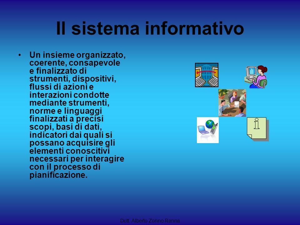 Il sistema informativo Un insieme organizzato, coerente, consapevole e finalizzato di strumenti, dispositivi, flussi di azioni e interazioni condotte