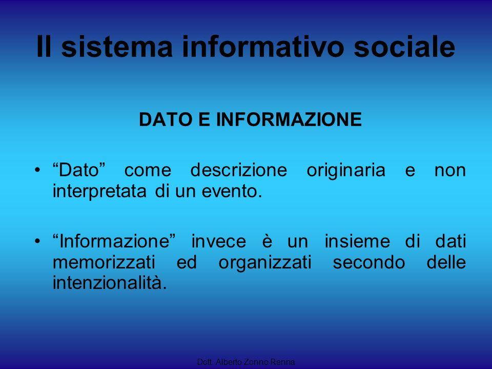 Il sistema informativo sociale Dott. Alberto Zonno Renna DATO E INFORMAZIONE Dato come descrizione originaria e non interpretata di un evento. Informa