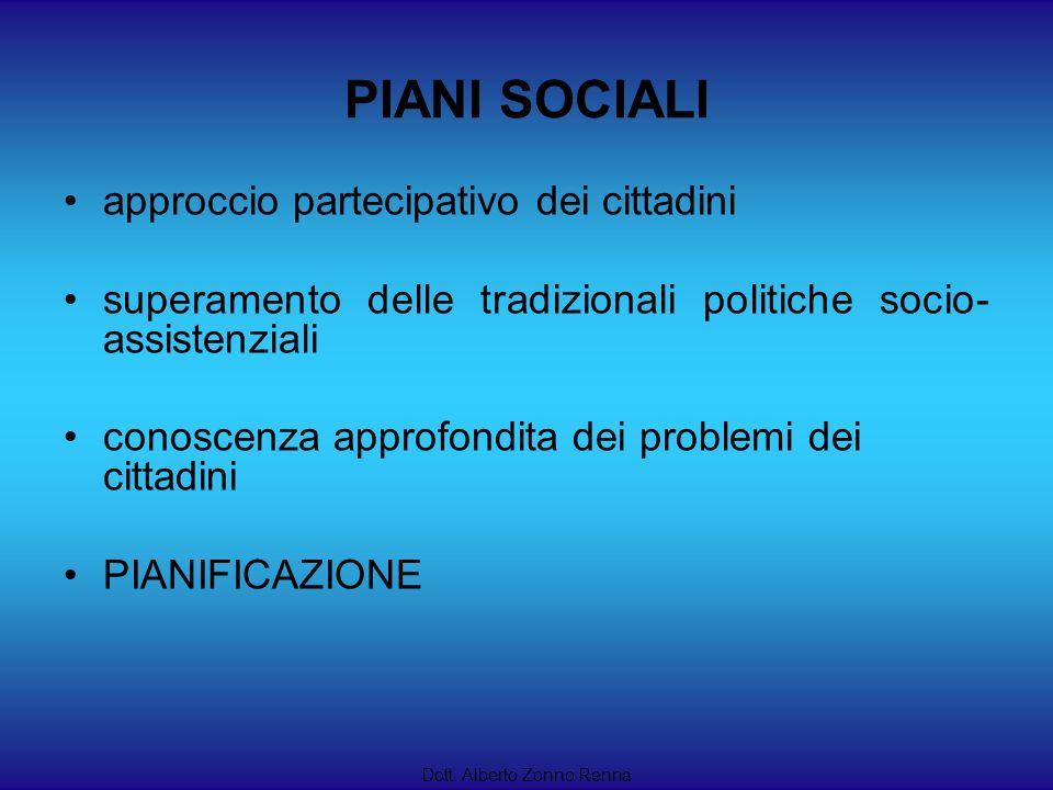 PIANI SOCIALI approccio partecipativo dei cittadini superamento delle tradizionali politiche socio- assistenziali conoscenza approfondita dei problemi