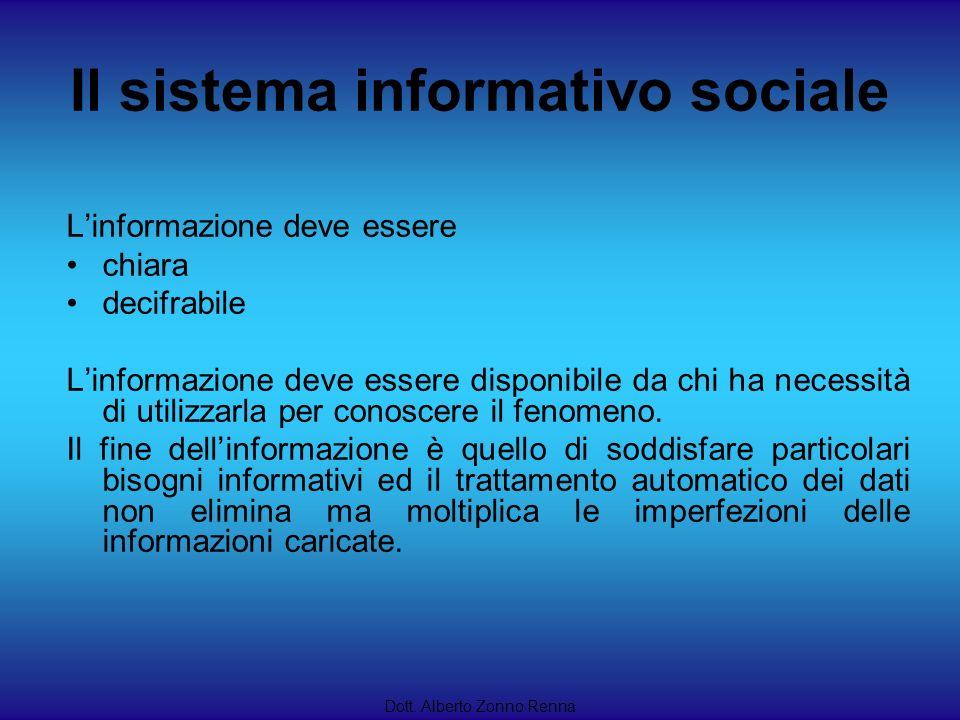 Il sistema informativo sociale Dott. Alberto Zonno Renna Linformazione deve essere chiara decifrabile Linformazione deve essere disponibile da chi ha