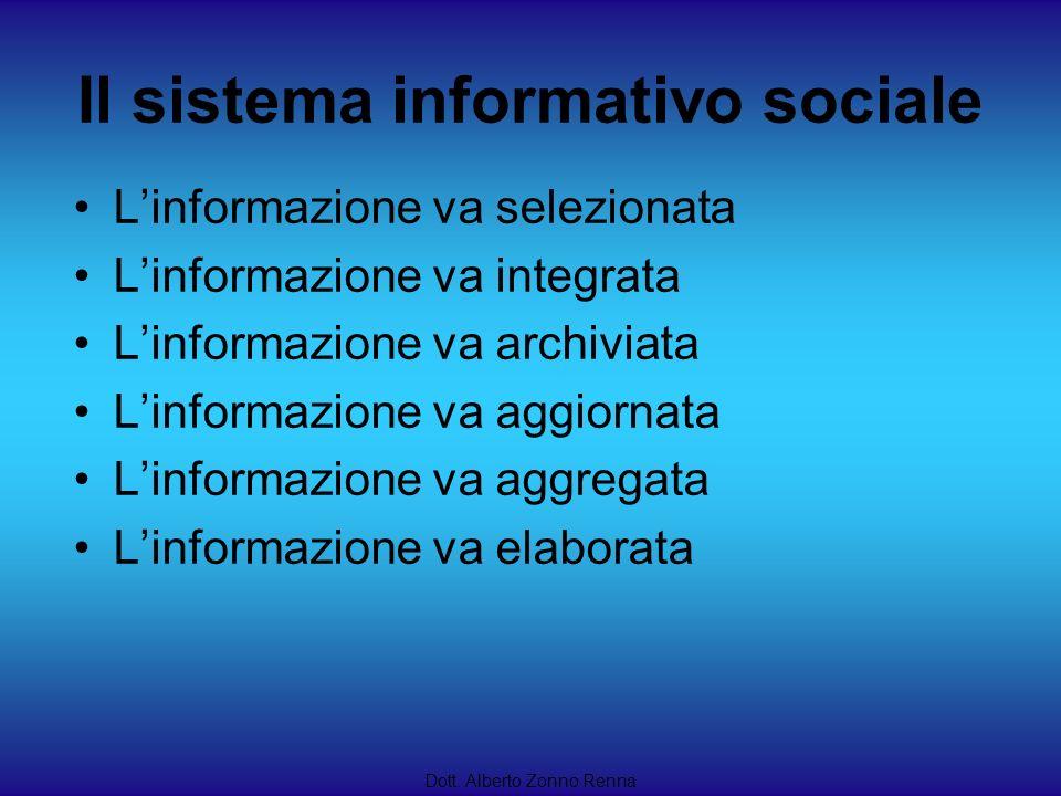 Il sistema informativo sociale Dott. Alberto Zonno Renna Linformazione va selezionata Linformazione va integrata Linformazione va archiviata Linformaz
