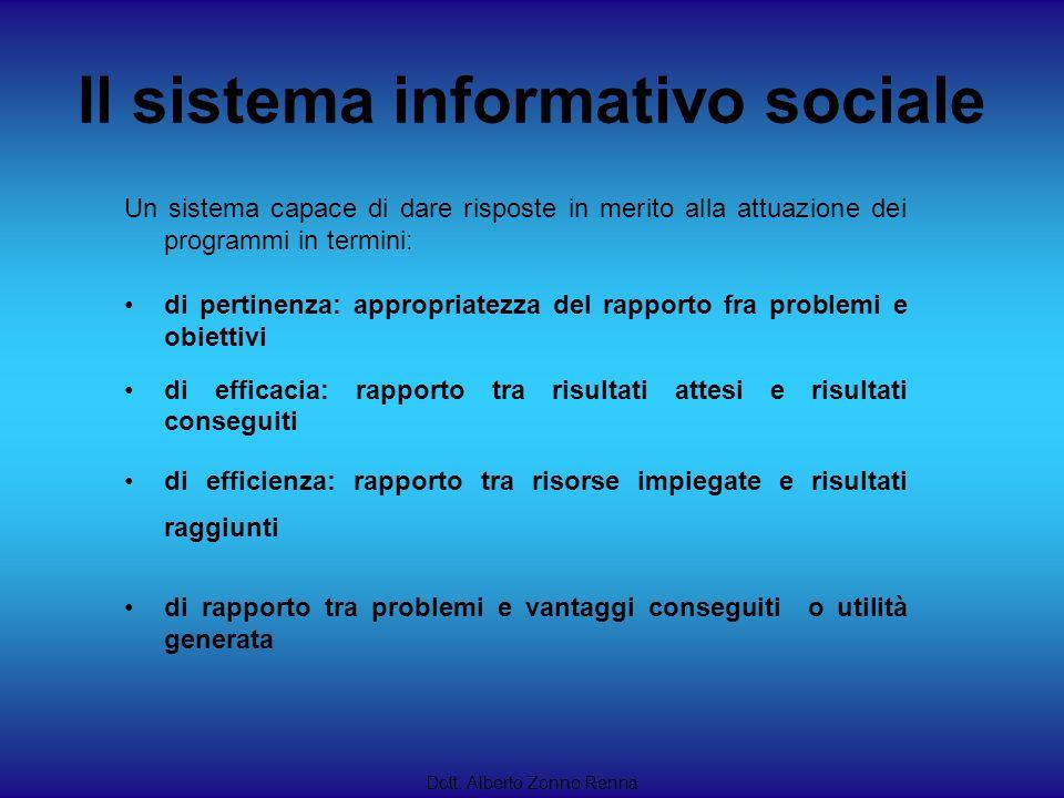 Il sistema informativo sociale Un sistema capace di dare risposte in merito alla attuazione dei programmi in termini: di pertinenza: appropriatezza de