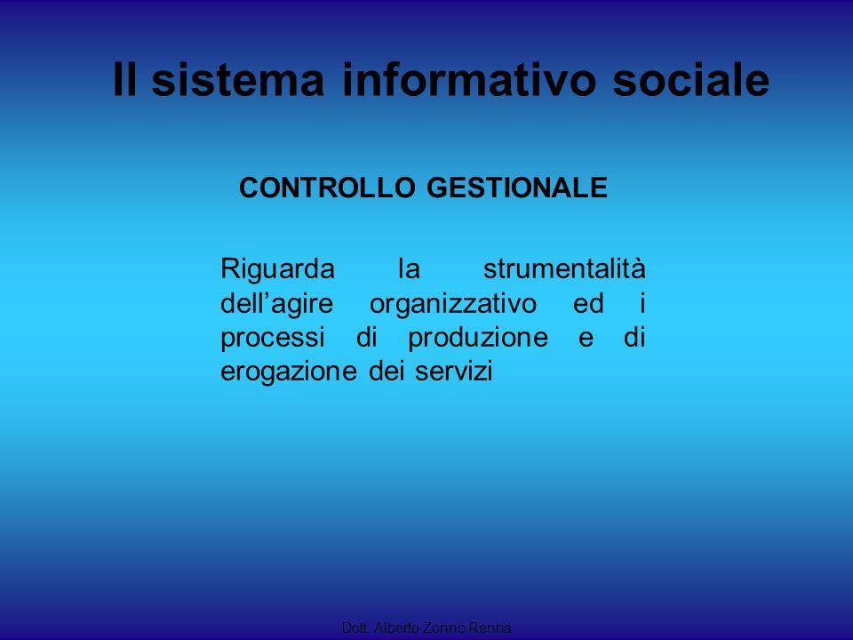 Il sistema informativo sociale Dott. Alberto Zonno Renna Riguarda la strumentalità dellagire organizzativo ed i processi di produzione e di erogazione