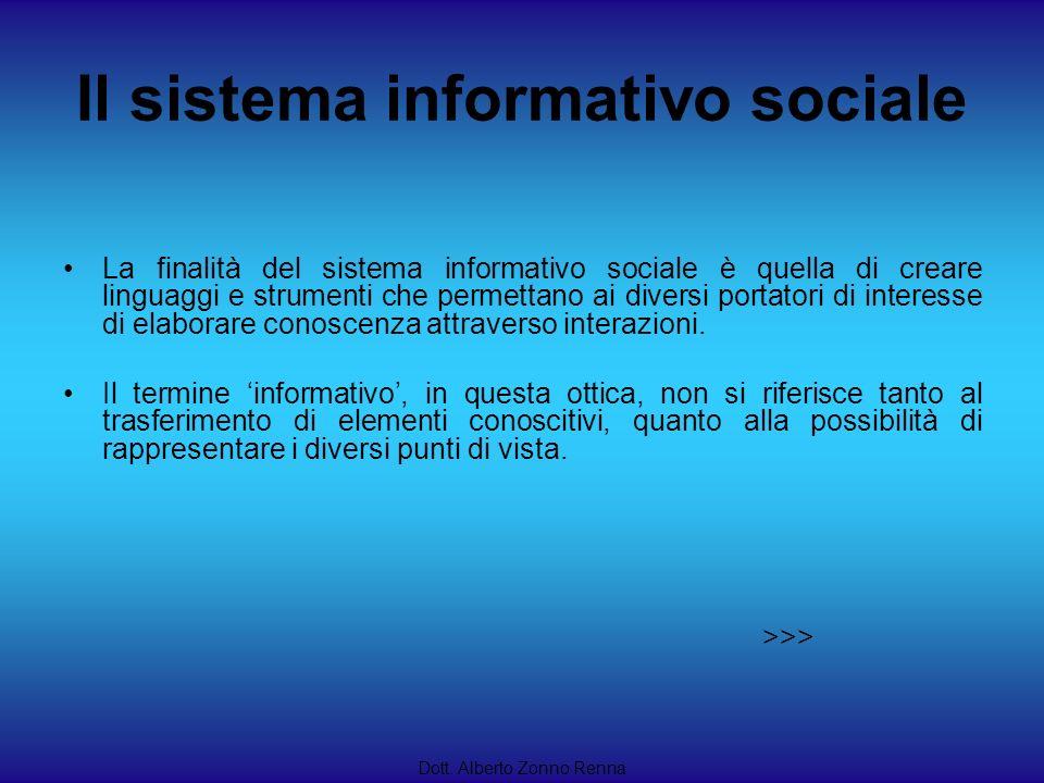 Il sistema informativo sociale Dott. Alberto Zonno Renna La finalità del sistema informativo sociale è quella di creare linguaggi e strumenti che perm
