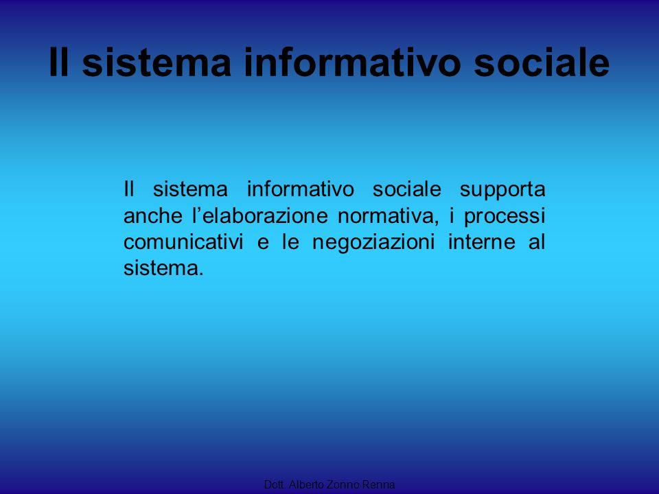 Dott. Alberto Zonno Renna Il sistema informativo sociale supporta anche lelaborazione normativa, i processi comunicativi e le negoziazioni interne al