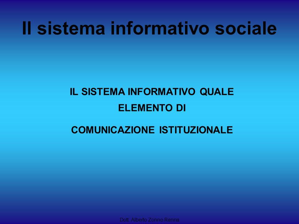Dott. Alberto Zonno Renna IL SISTEMA INFORMATIVO QUALE ELEMENTO DI COMUNICAZIONE ISTITUZIONALE