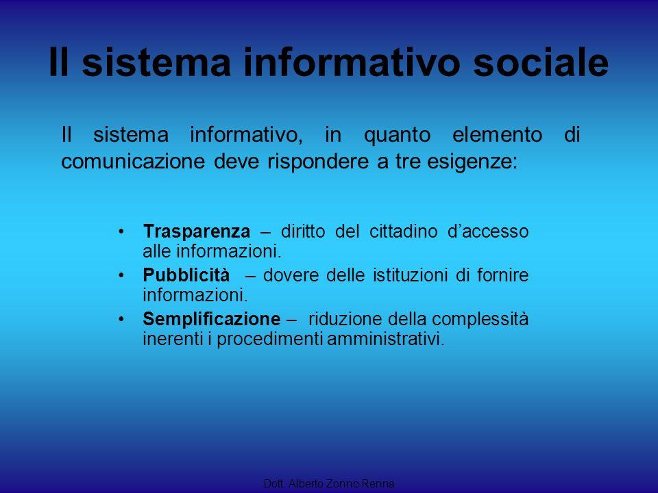 Il sistema informativo sociale Dott. Alberto Zonno Renna Il sistema informativo, in quanto elemento di comunicazione deve rispondere a tre esigenze: T