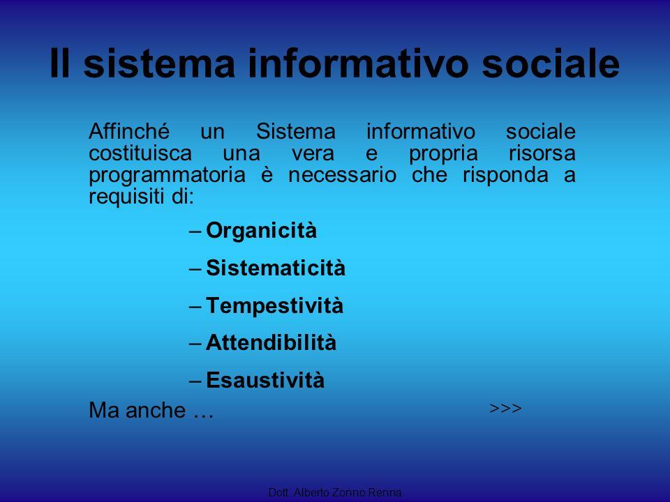 Il sistema informativo sociale Dott. Alberto Zonno Renna Affinché un Sistema informativo sociale costituisca una vera e propria risorsa programmatoria