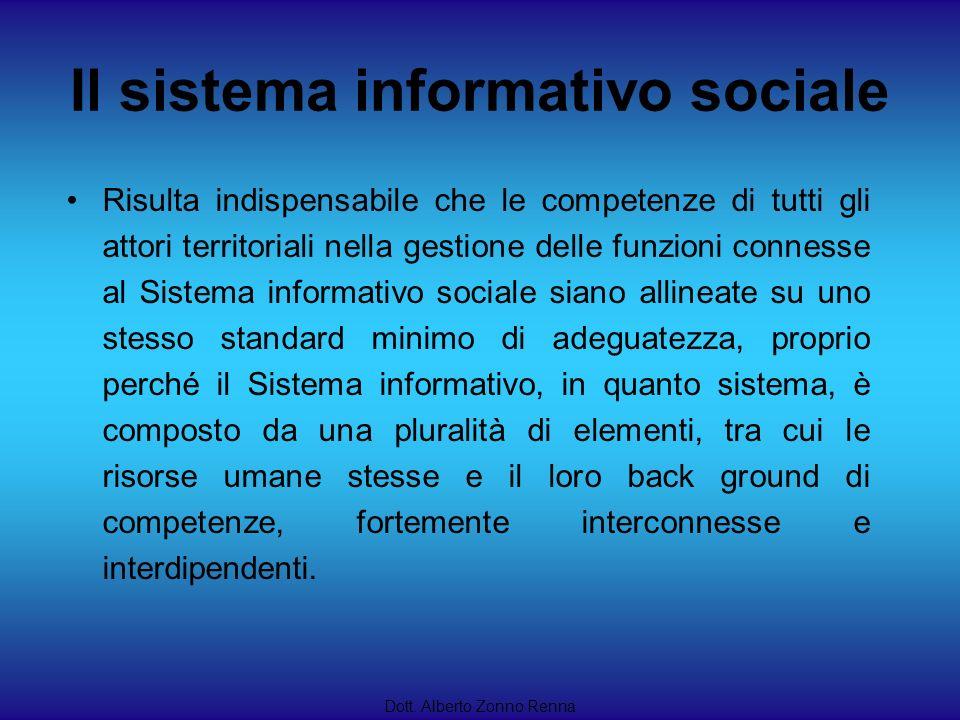 Il sistema informativo sociale Dott. Alberto Zonno Renna Risulta indispensabile che le competenze di tutti gli attori territoriali nella gestione dell