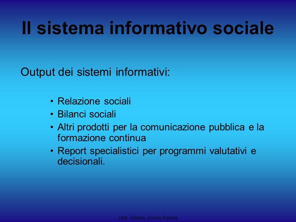Il sistema informativo sociale Dott. Alberto Zonno Renna Output dei sistemi informativi: Relazione sociali Bilanci sociali Altri prodotti per la comun