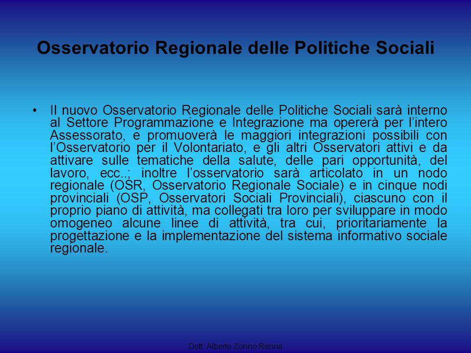 Dott. Alberto Zonno Renna Il nuovo Osservatorio Regionale delle Politiche Sociali sarà interno al Settore Programmazione e Integrazione ma opererà per