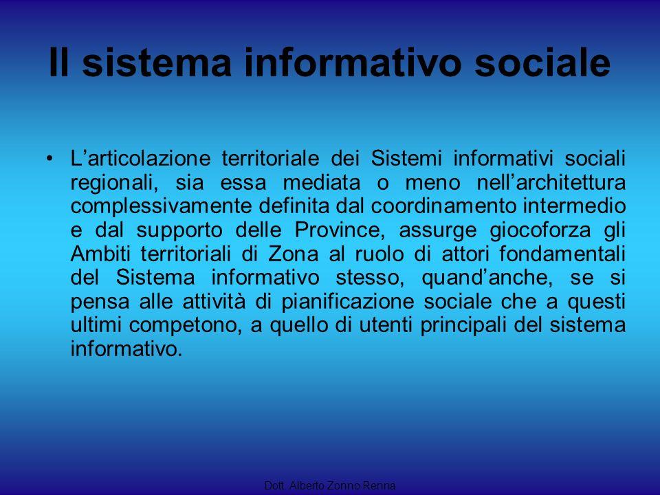 Il sistema informativo sociale Dott. Alberto Zonno Renna Larticolazione territoriale dei Sistemi informativi sociali regionali, sia essa mediata o men