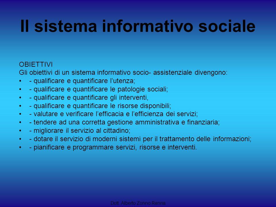 Il sistema informativo sociale Dott. Alberto Zonno Renna OBIETTIVI Gli obiettivi di un sistema informativo socio- assistenziale divengono: - qualifica