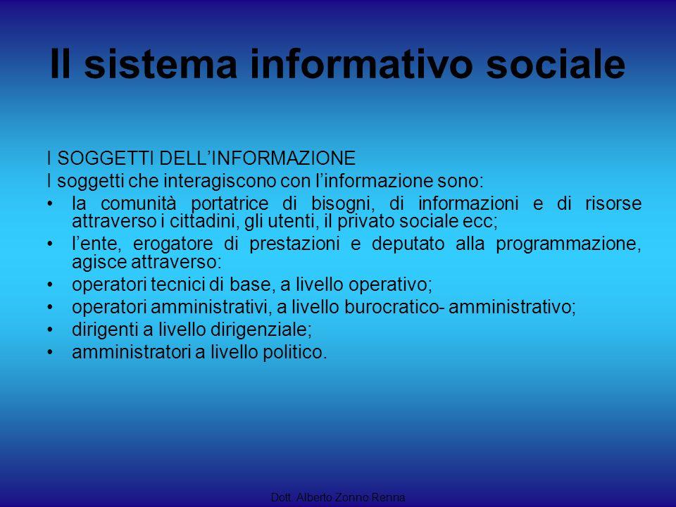 Il sistema informativo sociale Dott. Alberto Zonno Renna I SOGGETTI DELLINFORMAZIONE I soggetti che interagiscono con linformazione sono: la comunità