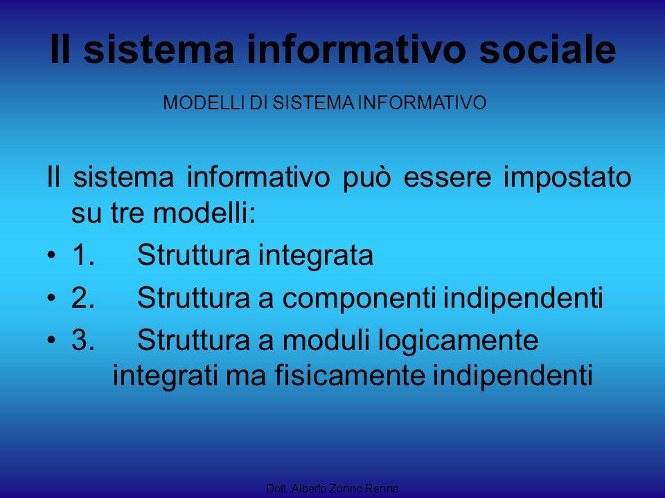 Il sistema informativo sociale Dott. Alberto Zonno Renna Il sistema informativo può essere impostato su tre modelli: 1. Struttura integrata 2. Struttu