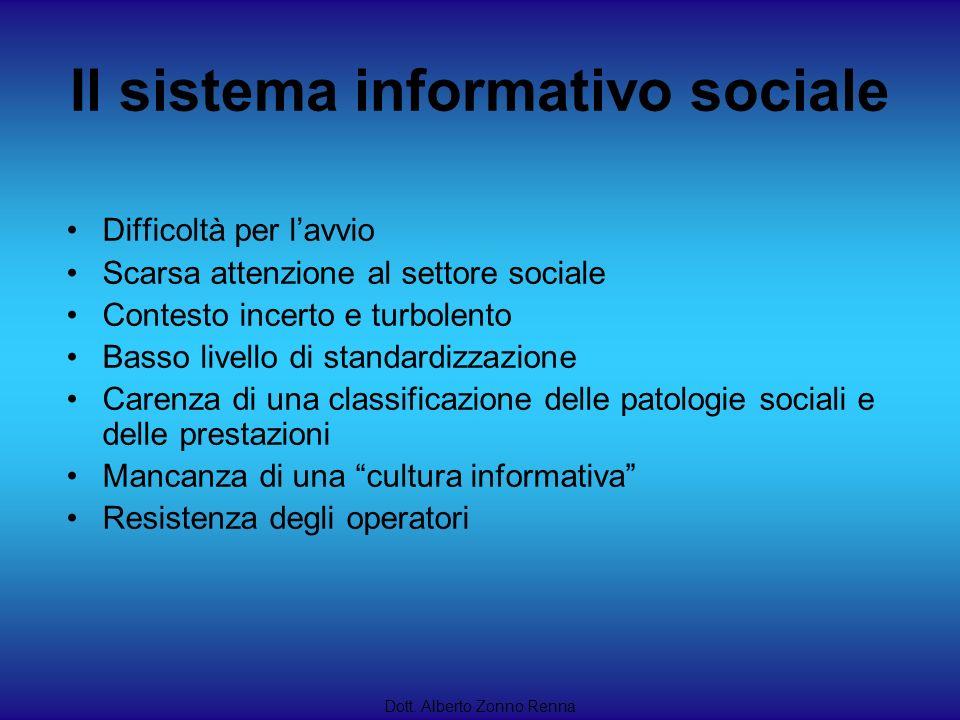Il sistema informativo sociale Dott. Alberto Zonno Renna Difficoltà per lavvio Scarsa attenzione al settore sociale Contesto incerto e turbolento Bass