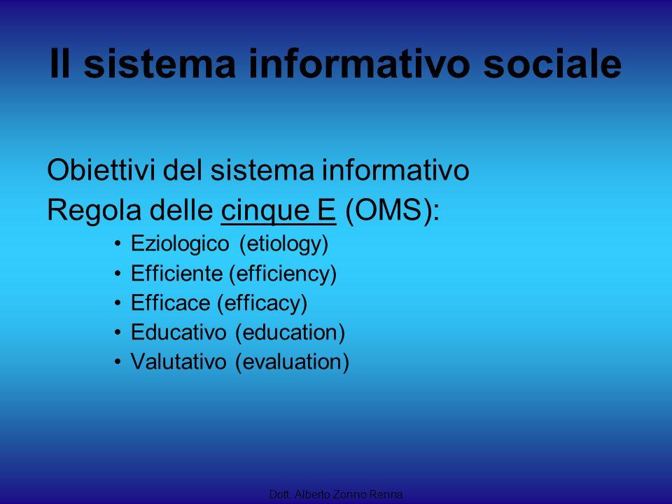 Il sistema informativo sociale Dott. Alberto Zonno Renna Obiettivi del sistema informativo Regola delle cinque E (OMS): Eziologico (etiology) Efficien