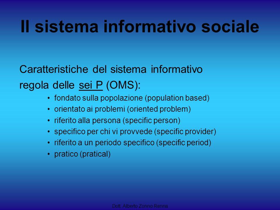 Il sistema informativo sociale Dott. Alberto Zonno Renna Caratteristiche del sistema informativo regola delle sei P (OMS): fondato sulla popolazione (