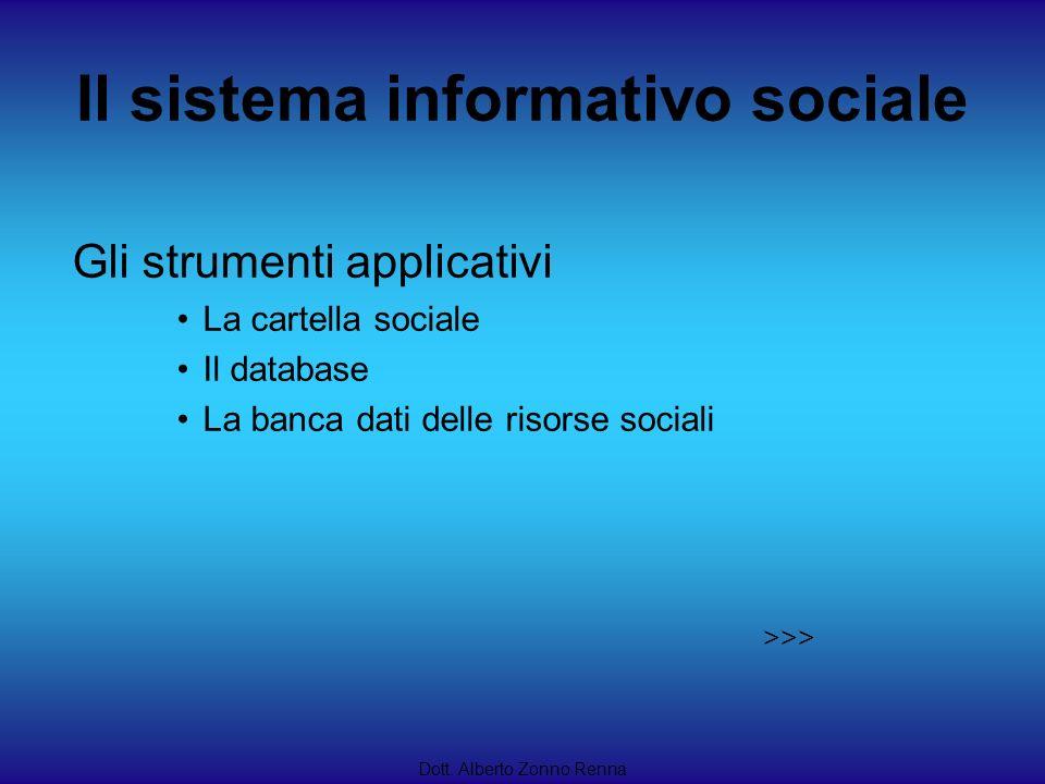 Il sistema informativo sociale Dott. Alberto Zonno Renna Gli strumenti applicativi La cartella sociale Il database La banca dati delle risorse sociali