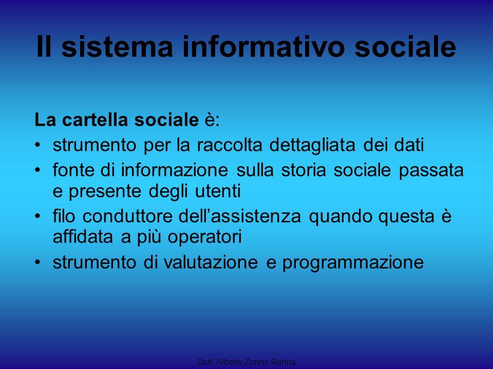 Il sistema informativo sociale Dott. Alberto Zonno Renna La cartella sociale è: strumento per la raccolta dettagliata dei dati fonte di informazione s