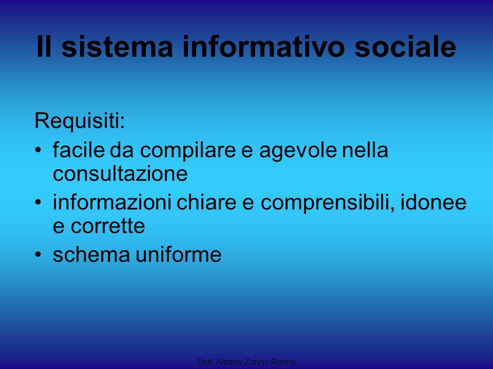 Il sistema informativo sociale Dott. Alberto Zonno Renna Requisiti: facile da compilare e agevole nella consultazione informazioni chiare e comprensib