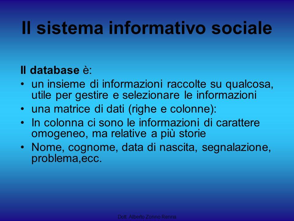 Il sistema informativo sociale Dott. Alberto Zonno Renna Il database è: un insieme di informazioni raccolte su qualcosa, utile per gestire e seleziona