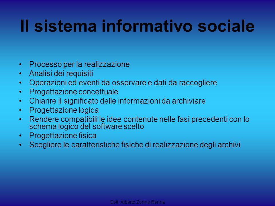 Il sistema informativo sociale Dott. Alberto Zonno Renna Processo per la realizzazione Analisi dei requisiti Operazioni ed eventi da osservare e dati