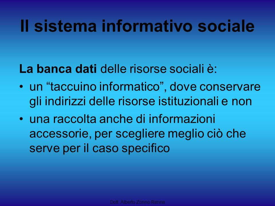 Il sistema informativo sociale Dott. Alberto Zonno Renna La banca dati delle risorse sociali è: un taccuino informatico, dove conservare gli indirizzi