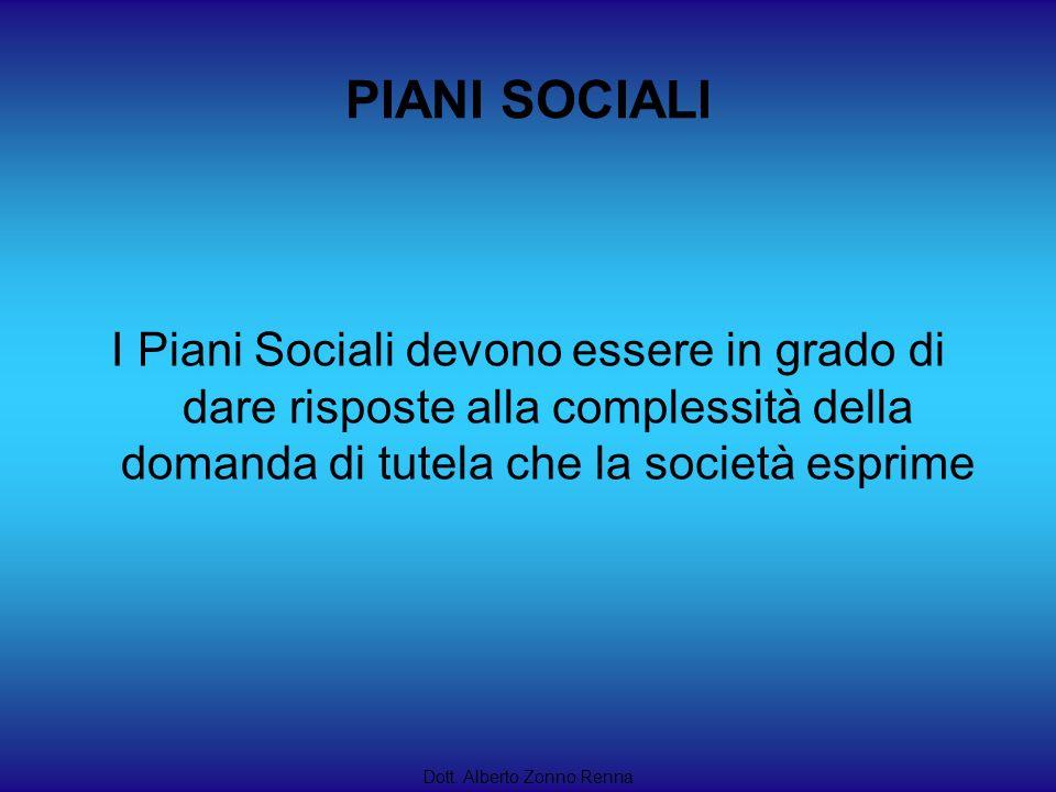 PIANI SOCIALI I Piani Sociali devono essere in grado di dare risposte alla complessità della domanda di tutela che la società esprime Dott. Alberto Zo