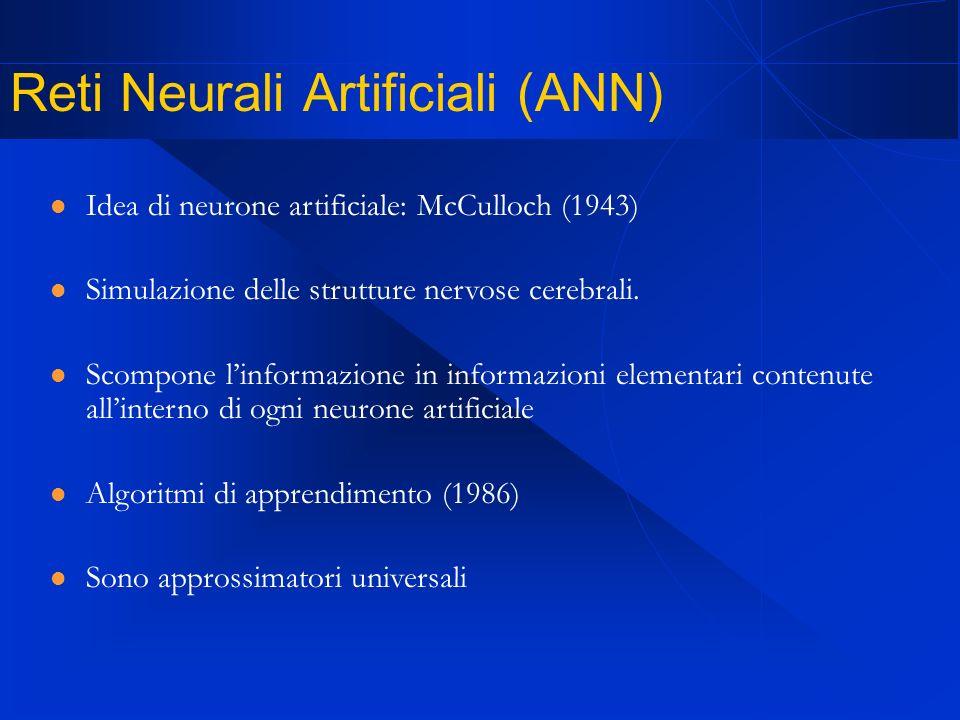 Reti Neurali Artificiali (ANN) Idea di neurone artificiale: McCulloch (1943) Simulazione delle strutture nervose cerebrali.