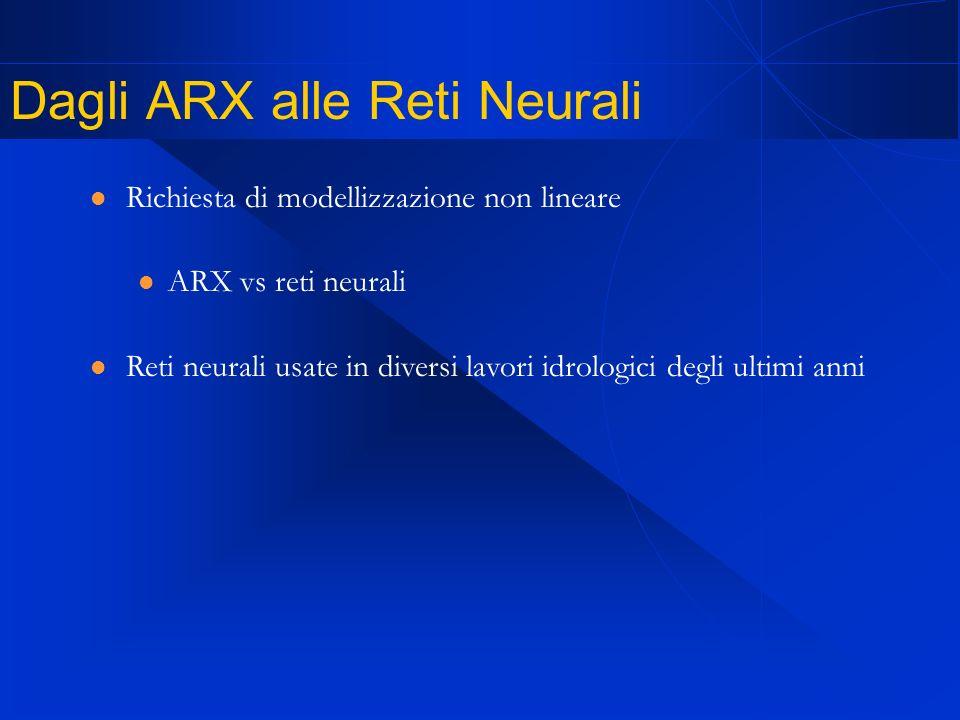 Dagli ARX alle Reti Neurali Richiesta di modellizzazione non lineare ARX vs reti neurali Reti neurali usate in diversi lavori idrologici degli ultimi anni