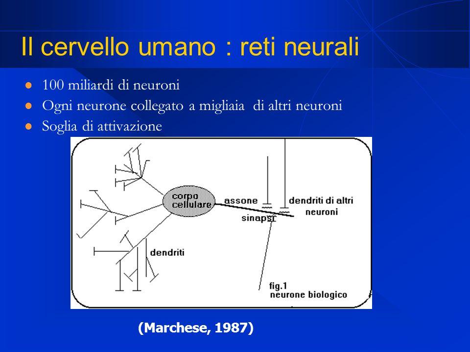 Il cervello umano : reti neurali 100 miliardi di neuroni Ogni neurone collegato a migliaia di altri neuroni Soglia di attivazione (Marchese, 1987)