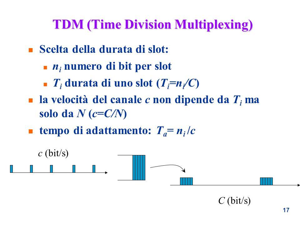 17 TDM (Time Division Multiplexing) n Scelta della durata di slot: n n i numero di bit per slot n T i durata di uno slot (T i =n i /C) n la velocità d