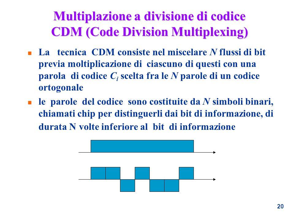 20 Multiplazione a divisione di codice CDM (Code Division Multiplexing) n La tecnica CDM consiste nel miscelare N flussi di bit previa moltiplicazione