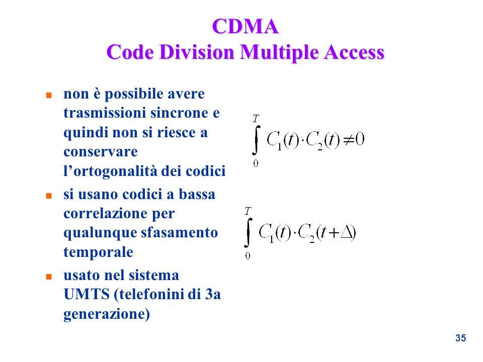 35 CDMA Code Division Multiple Access n non è possibile avere trasmissioni sincrone e quindi non si riesce a conservare lortogonalità dei codici n si