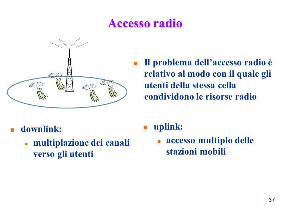 37 Accesso radio n Il problema dellaccesso radio è relativo al modo con il quale gli utenti della stessa cella condividono le risorse radio n downlink