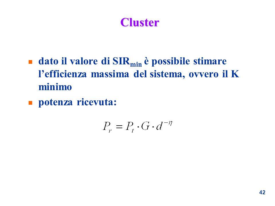 42 Cluster n dato il valore di SIR min è possibile stimare lefficienza massima del sistema, ovvero il K minimo n potenza ricevuta: