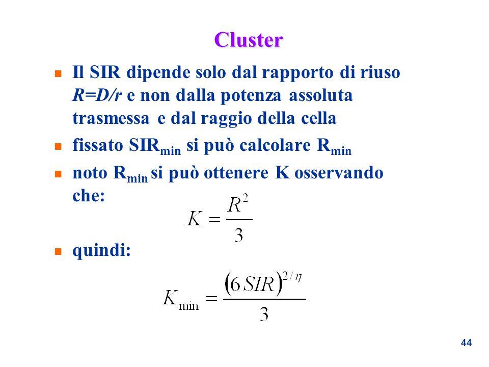 44 Cluster n Il SIR dipende solo dal rapporto di riuso R=D/r e non dalla potenza assoluta trasmessa e dal raggio della cella n fissato SIR min si può