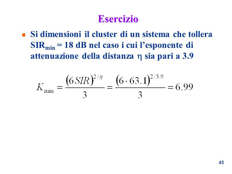 45 Esercizio n Si dimensioni il cluster di un sistema che tollera SIR min = 18 dB nel caso i cui lesponente di attenuazione della distanza sia pari a