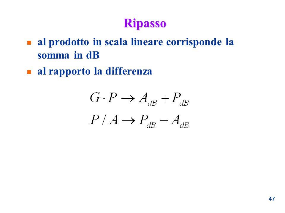 47 Ripasso n al prodotto in scala lineare corrisponde la somma in dB n al rapporto la differenza
