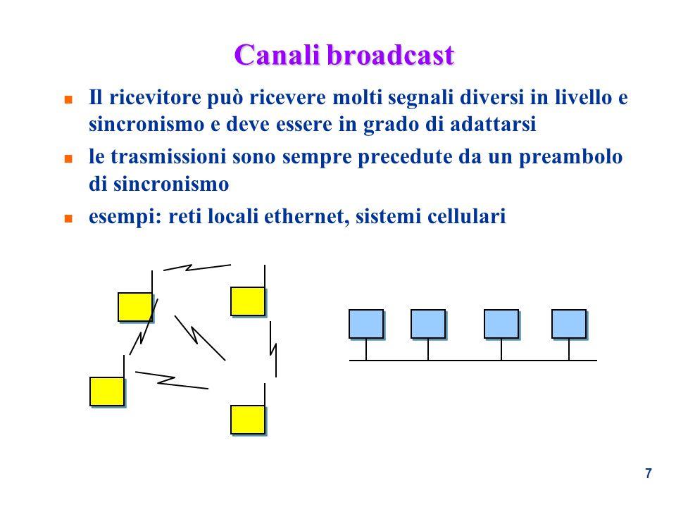 7 Canali broadcast n Il ricevitore può ricevere molti segnali diversi in livello e sincronismo e deve essere in grado di adattarsi n le trasmissioni s