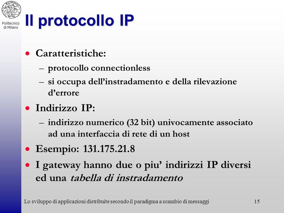Politecnico di Milano Lo sviluppo di applicazioni distribuite secondo il paradigma a scambio di messaggi15 Il protocollo IP Caratteristiche: –protocol