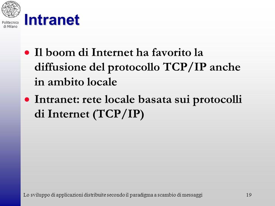 Politecnico di Milano Lo sviluppo di applicazioni distribuite secondo il paradigma a scambio di messaggi19 Intranet Il boom di Internet ha favorito la