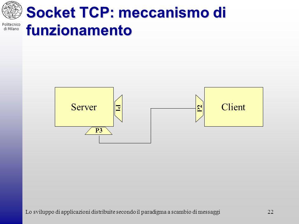 Politecnico di Milano Lo sviluppo di applicazioni distribuite secondo il paradigma a scambio di messaggi22 Socket TCP: meccanismo di funzionamento Ser